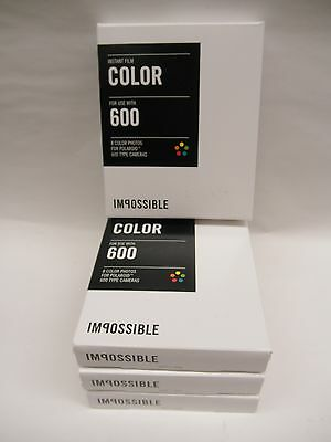 Impossible 600 Color Film for polaroid 600 Cameras 4 packs of film