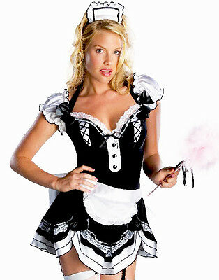 French Maid Lacy Lolita Cosplay Sexy Party Costume Dress,Apron,Headpiece Set