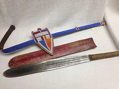 Antique African Beaded Massai Belt And Sword With Leather Sheath