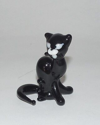 Glass black cat Figurine Hand/Mouth-Blown made Russian Murano sitting cute