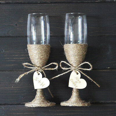 custom wedding Champagne Toasting Flutes Personalized wedding glasses Set
