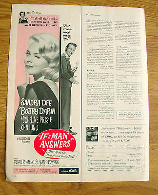 1962 Movie Ad If A Man Answers Sandra Dee Bobby Darin