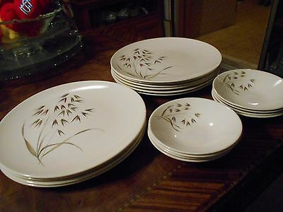 "Edwin Knowles Porcelain China""Wild Oats""Set  Ten 10""Plates & Eight 5 1/2"" Bowls"