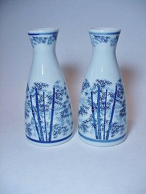 Pair of Chinese Saki Containers Jars - Blue on White Bam Boo Design -- Excellent