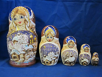 Russian 5pc Nesting Dolls Wood Fire Burn Art Hand Painted Winter Scene 6 1/4""