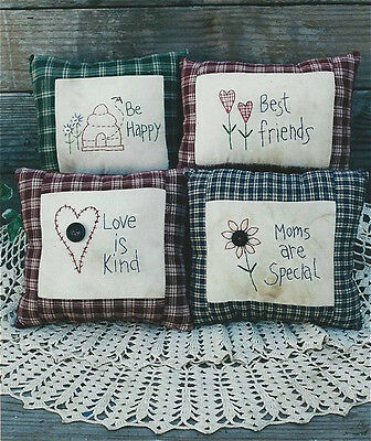 PATTERN Primitive Stitchery Sampler Country Pillows UNCUT by Rustic Charm