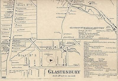 Glastonbury Buckingham Addison CT 1869 Maps with Homeowners Names Shown