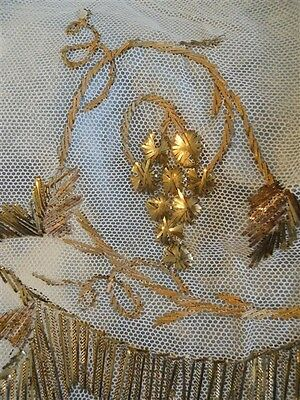 ANTIQUE FRENCH GRAPPES  ON TULLE GOLD METALLIC EMBROIDERY  19TH-CENTURY FLOWERS