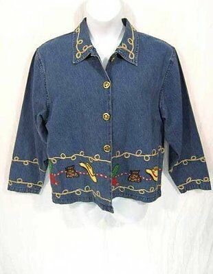 Don't Mess With Texas Jacket SZ Large Womans L Blue Jeans Boots Hat Cactus Bling