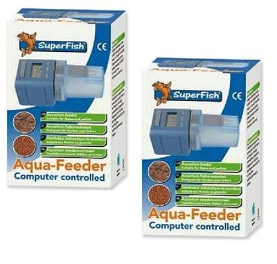 2 x New Superfish Automatic Aqua Feeder Aquarium Fish Tank Flake Pellet Food • EUR 49,08