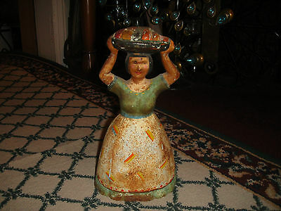 Antique Cast Iron Doorstop Woman Carrying Basket Fruit On Head-OLD Bookend-LQQK