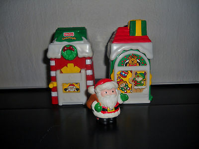 3 Pc. Christmas Village & Santa Fisher Price 2001 Little Peoples Set  Holiday