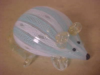 UNUSUAL VINTAGE MURANO GLASS MOUSE PAPERWEIGHT SWIRL CANING