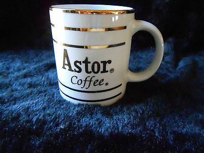 Advertising Coffee Mug / CUP White with Gold Rings ASTOR COFFEE Vintage Brand