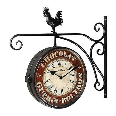 Adeco Vintage-Inspired Double-Sided Decorative Rooster Round Iron Wall Clock