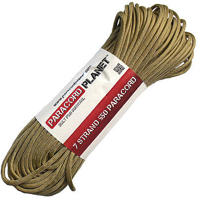 Gold 550 Paracord Mil Spec Type III 7 Strand Parachute Cord 100 ft Hank
