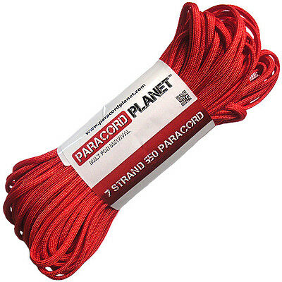 Imperial Red 550 Paracord Mil Spec Type III 7 Strand Parachute Cord 100 ft