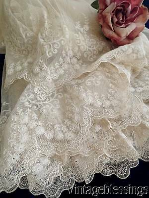 Stunning Layered Embroidered Tulle French Net Lace Ballet Dress Antique c1920