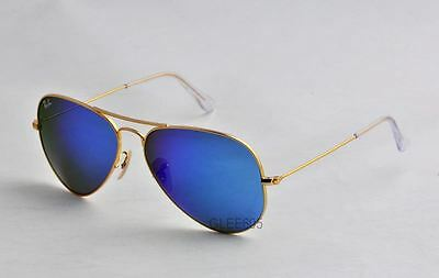 Ray-Ban 3025 RB3025 112/17 matte Gold  Aviator Blue mirrored 58mm Sunglass
