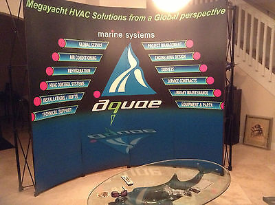 10' Ft Curved Portable Display Trade Show Booth Exhibit Pop Up Kit 3 Spotlights
