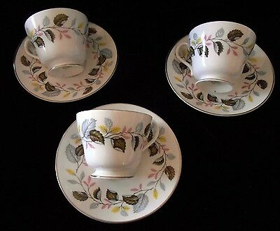 Three (3) Classic Shelley Ferndown 14131  England Bone China Cup Saucer Sets