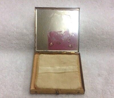 "Vintage Large Gold Tone Leaf  on Metal Mirror Powder Compact 3"" For Display Only"