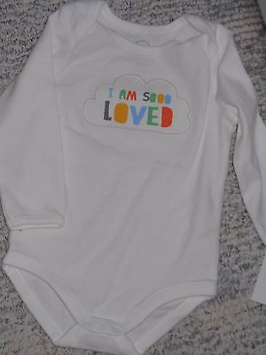 """NWT -Gymboree """"Brand New Baby"""" long sleeved """"So Loved"""" ivory top - 3-6 mos"""
