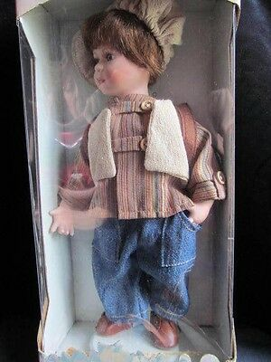 """12&1/2""""Genuine collectable porcelain boy doll, handcrafted & handpainted w/stand"""