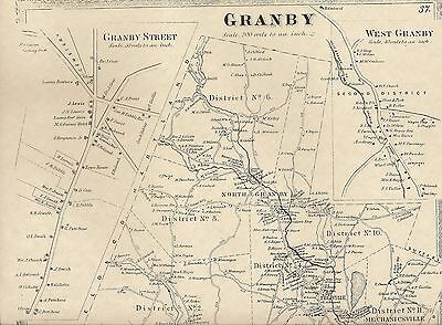 Granby Salmon Brook West Granby Manitook Lake CT 1869 Map Homeowners Names Shown
