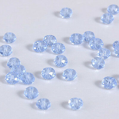 NEW DIY Jewelry Faceted 100pcs Rondelle crystal #5040 3x4mm Beads Light blue