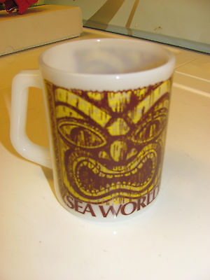 Vintage Sea World Amusement Park Tiki Mug Federal USA White Glass Cup