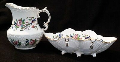 SHELL DISH & PITCHER in PEMBROKE w/ Gold Trim BY AYNSLEY Hummingbird Flowers