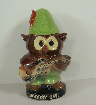 """VINTAGE McCoy WOODSY OWL """"Give a Hoot Don't Pollute"""" Ceramic Cookie Jar"""