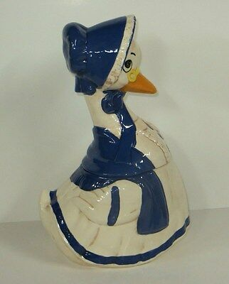 VINTAGE Blue & White MOTHER GOOSE with Yellow Glasses Ceramic Cookie Jar