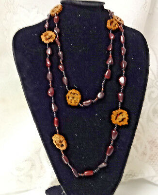 Antique Chinese Hand Carved Walnut Tree Seeds Bead Excellent Long Necklace RARE