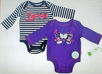 NWT Disney Baby Mickey & Minnie Mouse 2 PACK  Infant Girl's Bodysuits  (0-3 mos)