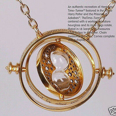 Hot Film Time Turner Necklace Hermione Granger Rotating Spins Gold Hourglass Q1