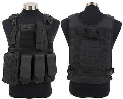 Tactical Military Army SWAT Police Hunting Molle Plate Carrier Combat Vest Black