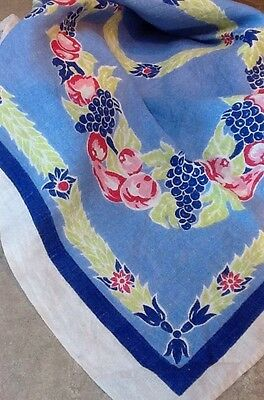 vintage floral blue, white, and green tablecloth -fruit and flowers