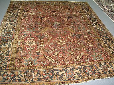 Semi Antique Heriz Persian Area Rug Wool Hand Knotted 8'-6 x 9'-10' Allover