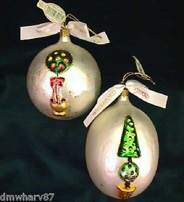 Set of 2 HOLIDAY TOPIARY Tree BALL & EGG Ornaments!  by WATERFORD NIB!