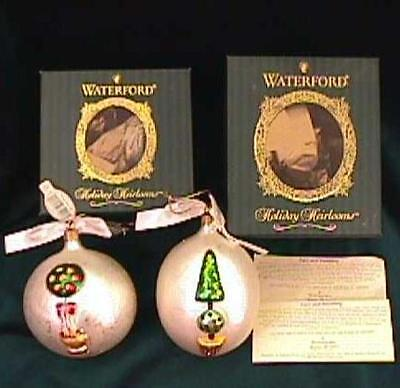 WATERFORD  - Set of 2 HOLIDAY TOPIARY Tree BALL & EGG Ornaments!  NIB!