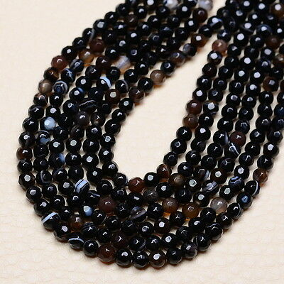 """4MM NATURAL BROWN MADAGASCAR FIRE AGATE GEMS FACETED ROUND BEADS STRAND 14 3/4"""""""