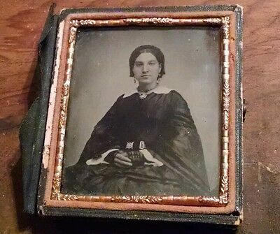 1860's Woman Well Dressed Ambrotype Photograph on Ruby Colored Glass 6th Plate -