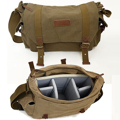Waterproof Canvas DSLR SLR Camera Shoulder Bag Messenger Bag Schoolbag Daypack