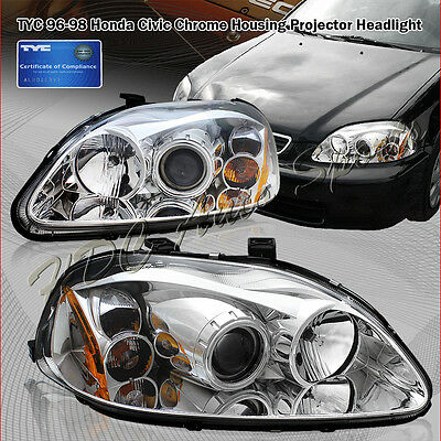 For 96-98 Honda Civic TYC Chrome Housing Clear Lens Projector Headlight Lamps