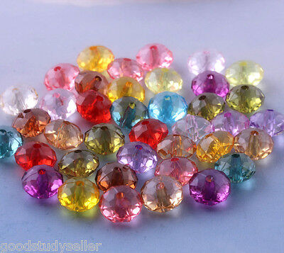 200 pcs Mixed color Acrylic Facet Wheel Shape Spacer Beads Charms 8mm