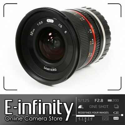 BRANDNEU Samyang 12mm f/2.0 NCS CS Lens f/2 F2 for Sony E Mount NEX (black)