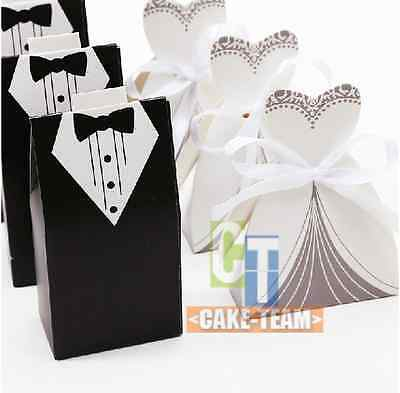 50pcs Wedding Party Favor Gift Ribbon Candy Boxes Baby Shower Chocolate Holder