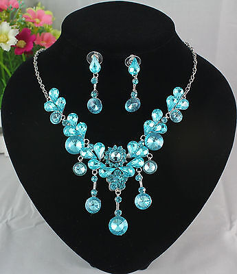 Silver Plated Austrian Swiss Blue Rhinestone Crystal Necklace Earrings Set